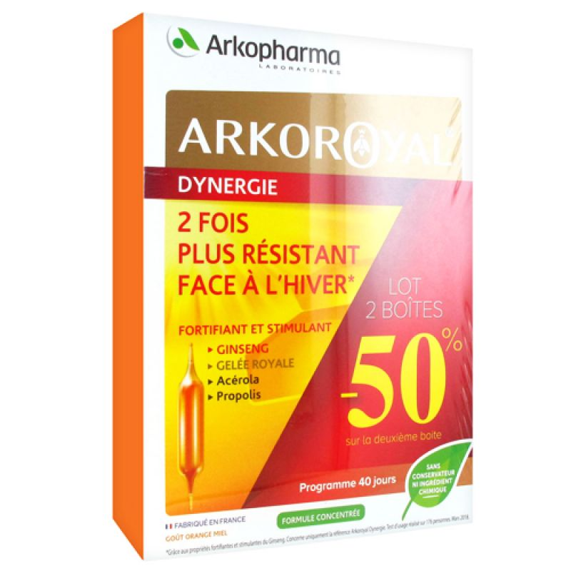 Arkoroyal Gelée Royal Dynergie 2x20 ampoules de 10ml
