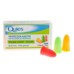 Quies Protections auditives Mousse colorée x3 paires