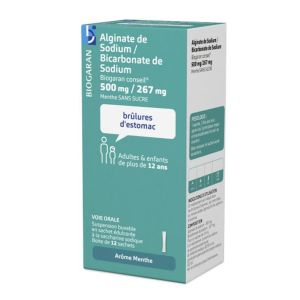 Alginate de sodium/Bicarbonate de sodium 0.5/0.267g Biogaran conseil 12 sticks de 10ml