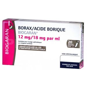 Borax/acide borique Biogaran Solution pour lavage Ophtalmique 5ml x20