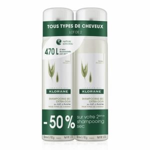 Klorane shampoing sec Lait d'avoine spray 2x150ml