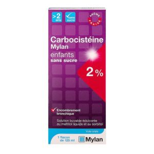 Carbocisteine 2% Mylan Solution Sans sucre 125ml toux grasse enfant