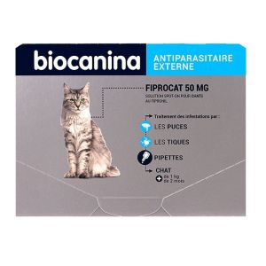 Fiprocat 50mg Spot-on Chat Pipettes x3 anti-puces